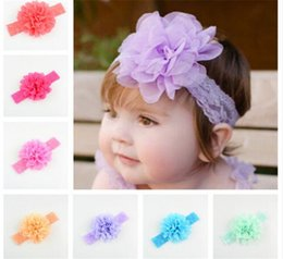 Wholesale Big Bohemian Hair - 18 colors Baby Girls Lace Headbands Infant big Chiffon Flower hair band headwear Children Hair Accessories Kids Elastic Headbands R079