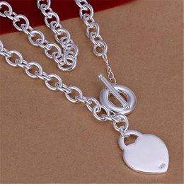 Wholesale free shipping fashion jewellery - wholesale price Pretty jewellery Free shipping Silver plated wedding fashion jewelry charm Heart cute PENDANT necklace toggle mark925