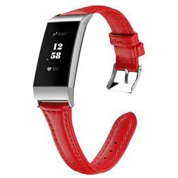 Argentina Para Fitbit Charge 3 Correa de cuero correa de reloj de repuesto Pulsera de cuero genuino Muñequera para Fitbit Reloj inteligente Accesorios cheap wrist watch accessories Suministro