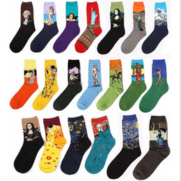 Wholesale Gray Oil Art - Dropshipping New Fashion Cotton Art Oil Painting Harajuku Washington Davi Male Female Cupid Retro Style women socks Men Socks