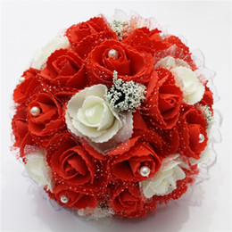 Wholesale Cheap Red Bridal Bouquets - Cheap Red Rose Wedding Bouquet 2018 Free Shipping PE Flowers Pearls Bridal Bouquet Cheap bouquet de mariage