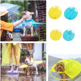 Wholesale Summer Dog Raincoat - UFO Pet Dog Raincoat Waterproof Pet Dog Puppy RainCoat Clothes Hooded Cloak Costumes FFA327 2coloors 12PCS