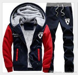 Wholesale Mens Cool Winter Jackets - Wholesale-Winter AutumnMen Sweat Suits Fleece Warm Mens Tracksuit Set Casual Jogging Suits Sports Suits Cool Jacket Pants And Sweatshirt Set