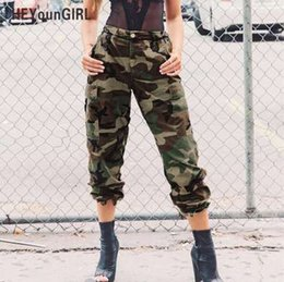 Hip hop verde on-line-HEYounGIRL Camo Calças para As Mulheres Camuflagem Calças Casuais Harem Pants Inverno Hip Hop Hip Hop Sweatpants De Cintura Alta Verde Pantalon Mujer