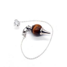 augenförmige schmucksachen Rabatt Neue Ankunft Tiger Eye Pendel Hypnose Runde Form Halskette Versilbert Naturstein Halsketten Anhänger Schmuck Für Frauen