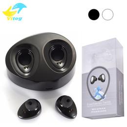 Wholesale Universal Earpiece - Mini Twins True Wireless Bluetooth Stereo Headset Sport Headphones In-Ear Earphones Earbuds Earpieces TWS With Charging Socket