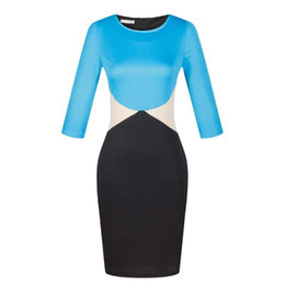 Wholesale pencil skirts dresses office - Pencil Women Skirts Fashion Style Patchwork Plus Size Sexy Office Comfortable Silk Bohominan O-Neck Three Quarter Pencil Dresses