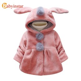 Wholesale clothes coats for rabbits - Babyinstar Girls Coat 2017 New Winter Jackets for Girls Warm Outwear Brand Children Clothing Cute Rabbit Ear Hooded Kids Jacket