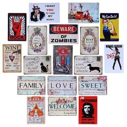 Wholesale Wall Stickers Welcome - Beware of Zombies Cat Dog Beer Cheers Family Welcome Wine Vintage Craft Tin Sign Retro Metal Painting Poster Bar Pub Signs Wall Art Sticker