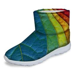 Botas de nieve mujer cool online-ELVISWORDS Mujeres Botas Frescas Hojas de Impresión Botas de Nieve Femeninas Invierno Mujeres Tobillo Plano Botas Mujer Zapatos 3D Causal Botines
