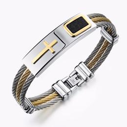 83e1dcd9bbe 2019 meilleur bracelet homme Punk Style Men Titanium Steel 3 Rangée