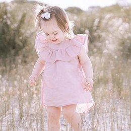 2019 vestito di rosa di cotone Abbigliamento per bambini 2018 Neonate Abito estivo per bambini Ragazza Abiti senza maniche Rosa Toddler Princess Dress Cotton Girl Abiti Abbigliamento per bambini vestito di rosa di cotone economici