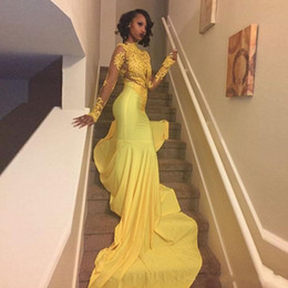 Wholesale Pretty Shirts - 2018 Pretty Yellow African Lace Appliqued South African Prom Dress Mermaid Long Sleeve Banquet Evening Party Gown Custom Made Plus Size