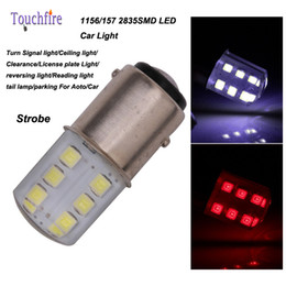 Wholesale Car Led Side Lights - 10pcs lot P21W 1156 BA15S S25 1157 2835SMD BAY15D Bulb Auto Wedge led lights 12v Width Interior Signal brake Strobe Car Styling