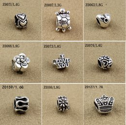 Wholesale Zodiac Coins - Mixed Beads Fit European Bracelets Charms Antique Silver Metal Zinc Alloy DIY Charms Spacer Beads & Jewelry Making 100pcs lot