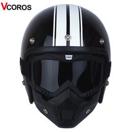 Wholesale Vintage Scooter Helmet Xl - VCOROS 3 4 Open face vintage motorcycle helmet with detachable mask men scooter retro harley moto helmets for vespa motorcycle