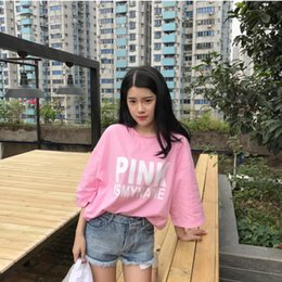 Wholesale Autumn Color Names - 2018 Special Offer Pullover No Short Sleeve free 2017 Pink Aape Ripndip Vetements Summer And Autumn New Women Is My Name Letter Long T-shirt