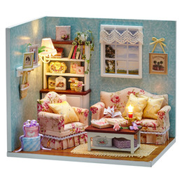 Wholesale wood bedroom furniture - DIY Handmake Wooden Dollhouse Miniature Kit Reunion with Happiness Cute Bedroom Furniture Model Girl Doll House Room Box