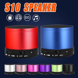 Wholesale Free Mp3 Mini Player - S10 Bluetooth Speaker Outdoor Speakers Handfree Mic Stereo Portable Speakers TF Card Call Function DHL Free Shipping No Logo In Retail Box