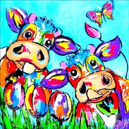 2019 dipingere le mucche DIY 5D Diamante Pittura Del Fumetto Mucca Parte Piazza Strass Punto Croce Diamante Ricamo Pittura Wall Sticker per Home Decor dipingere le mucche economici
