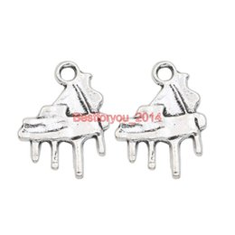 Wholesale piano pendant - Tibetan Silver Plated Music Piano Charms Pendants for Jewelry Making Earrings Bracelet Necklace Accessories Findings 19x15mm