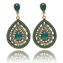 Wholesale vintage beaded chandelier - Bohemian Rhinestone Long Earrings Vintage National Design Colorful Beaded Water Drop Shape Big Drop Gold Color Ear Stud For Women
