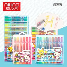 Wholesale girls stationery sets - Aihao 12 18 24 36 Color Twister Crayons Office School Painting Stationery Kids Washable Oil Painting Stick Boy Girl Color Pencil