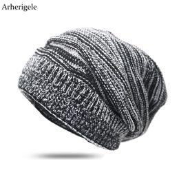 0b8b65a79f3 Arherigele Women Men Hat And Cap Autumn Winter Warm Knitted Beanies Female  Baggy Oversized Slouch Striped Cap Hat Hip Hop
