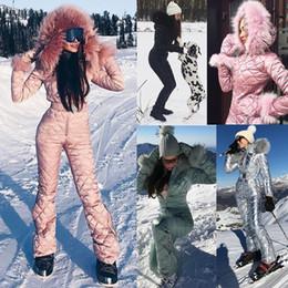 Wholesale Big Parking - Women's Fashion Winter Ski Suit Large Raccoon Fur Collar Park Jumpsuit Big Hooded Down Coat Slim Waist Cotton Padded Playsuit
