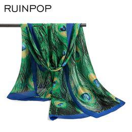 Wholesale Scarves Birds - RUINPOP 2018 Flower Bird Scarf Women Fashion Scarves Print Chiffon Silk Scarves Thin Long Shawls Spring Hijab Wraps Headband