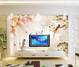Wholesale Country Kitchen Sets - 3d wallpaper custom mural non-woven Wall stickers 3 d setting flowers and butterflies paintings photo 3d wall mural wallpaper