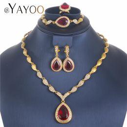 Deutschland Afrikanische Perlen Schmuck Set Gold Farbe Nachahmung Kristall Ohrringe Halskette Set Für Frauen Dubai Hochzeit Brautschmuck Sets Versorgung