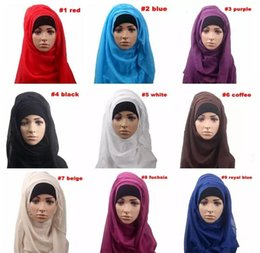 Wholesale Muslim Pashmina - 14 colors Women muslim femme Hooded scarf wraps Girl solid color shawl summer beach Long soft scarves B11
