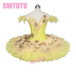Performance Classica Costume per balletto per donna Adulto Fata Canaria Professionale Tutu di balletto Piatto placcato oro giallo Tutu SkirtBT9024 da costumi di balletto giallo fornitori