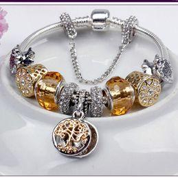 Moda de ouro de luxo árvore de vida Pulseira Criativa DIY frisado jóias Liga de prata banhado presentes do partido de