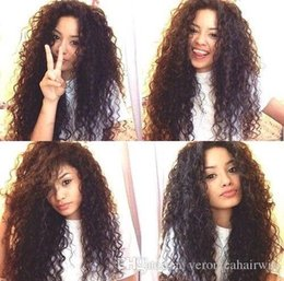 Wholesale lace wigs afro straight - Cute Style 1b# 4# 6# Afro Kinky Curly Lace Wigs for Black Women Heat Resistant Glueless Synthetic Lace Front Wigs with Baby Hair