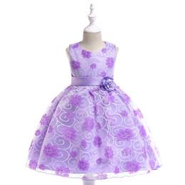 Bebés imágenes de flores online-Vestidos de niñas de flores moradas para bodas Vestidos de fiesta para bebés Imágenes de niños Vestido para niños vestidos de gala vestidos de noche 2018