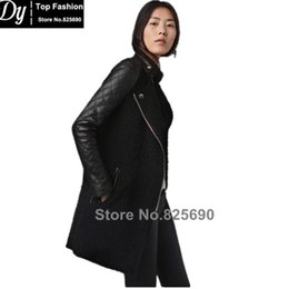 Wholesale lamb leather coats women - Fashion 2017 new design women's lambs wool stitching Girls long sleeve coat quilted leather trench coat