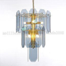 Wholesale other buildings - Modern Villa Duplex Building Living Room Bar Chandelier Lights Luxury Concourse Hall Glass Pendant Lamps Stairs Long Chandeliers Lights
