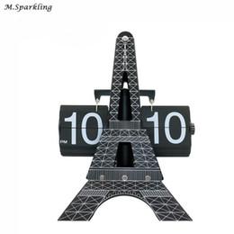 Wholesale Office Desk Styles - 1 set 2018 New Creative Fashion Design Eiffel Tower Large Size Desktop Clock For Art Home or Office Desk Decoration Table Clock