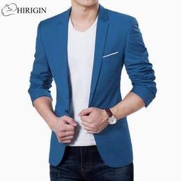 Wholesale korean wedding men coat - HIRIGIN Mens Korean slim fit fashion cotton blazer Suit Jacket black blue plus size M to 3XL Male blazers Mens coat Wedding