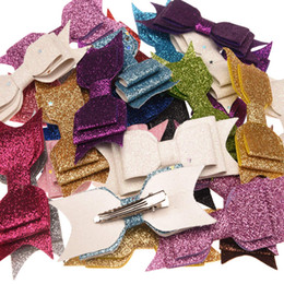 Deutschland 50pcs Pailletten-Puder-Bogen-Art- und Weisezusatz-Bowknot Allitagor Klipp-nette Haarspange Glitter-Chic-Haar-Zusatz-Butike Hairbow cheap sequin boutique hair bow Versorgung