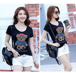 Wholesale ladies rhinestone caps - Women's T-shirt short-sleeved fashion hand-stitched into the small bear version of the lady T-shirt wholesale
