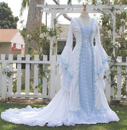 Wholesale fantasy embroidery - Narnia Style Victoria Velvet and Lace Fantasy Medieval Fairy Wedding Gown Custom 2018 light blue lace-up bell long sleeve wedding dresses