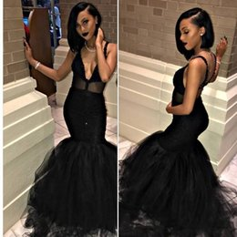 Wholesale White Tull Dress - African Black Mermaid Prom Dresses 2018 New Lace Applique Beaded Tull Illusion Formal Evening Gown Party Dress Custom Made Plus Size
