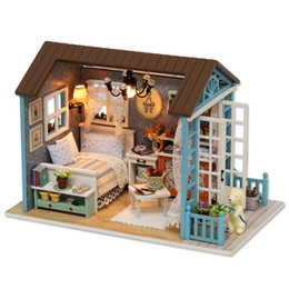 Wholesale handmade crafts for birthdays - Forest Time DIY Doll House Assemble Kits Handmade Craft Miniature Dollhouse With Furnitures Wooden House Toys For Birthday Gift