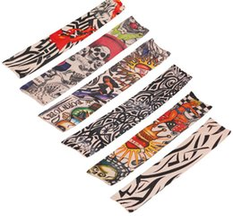 Wholesale tattoo women arm - Wholesale Hot Selling 24Pcs Tattoo Sleeves Men and Women Nylon Temporary Tatto Arm Stockings Oversleeves Fake Tattoo Sleeves