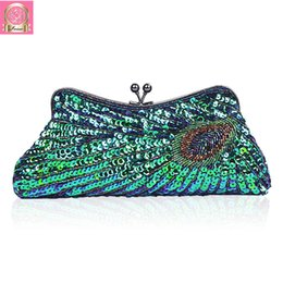 bridal handbags grey Coupons - 2018 Vintage Sequin Party Bag Women Evening Bags Clutch Wedding Bridal Purse Sequins Mini Chain Handbag Peacock Pattern