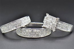 Wholesale 14k Diamond Wedding Band - Princess Diamond Trio Set Engagement Ring Wedding Band 14K White Gold 4.19 Ct