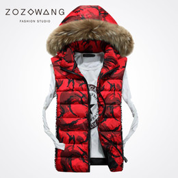 Wholesale Thin Fur Vest - Zozowang 2017 new print camouflage hooded large fur collar winter vest jacket men fashion zipper loose waist coat men